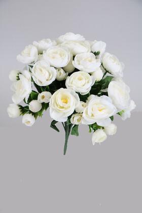 Yapay Çiçek Deposu - 14 Dallı Büyük Erengül Demeti Beyaz