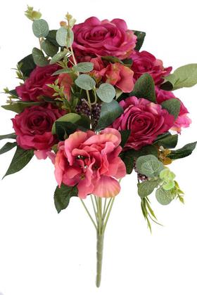 Yapay Çiçek Deposu - 11 Dallı Lüx Soft Gül Demeti Fuşya Kırmızı
