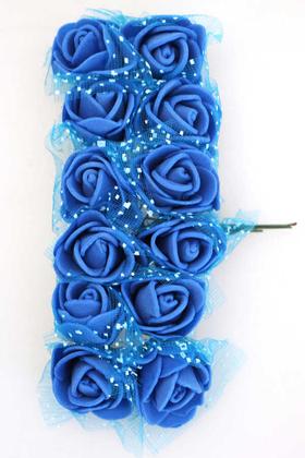 Yapay Çiçek Deposu - 12li Mini Tüllü Lateks Gül Saks Mavi