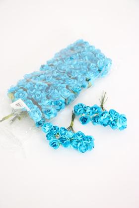 Yapay Çiçek Deposu - 144lü Mini Kağıt Gül Mavi