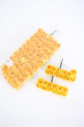 Yapay Çiçek Deposu - 144lü Mini Kağıt Gül Sarı