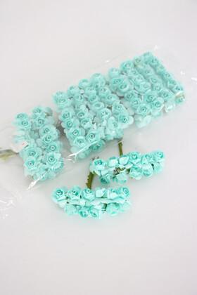 Yapay Çiçek Deposu - 144lü Mini Kağıt Gül Su Yeşili