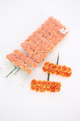 Yapay Çiçek Deposu - 144lü Mini Kağıt Gül Turuncu