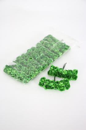 Yapay Çiçek Deposu - 144lü Mini Kağıt Gül Yeşil