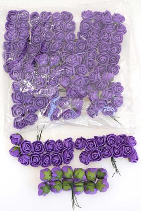 Yapay Çiçek Deposu - 144lü Mini Lateks Gül Koyu Mor
