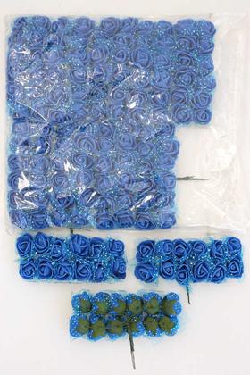 Yapay Çiçek Deposu - 144lü Mini Tüllü Lateks Gül Saks Mavi