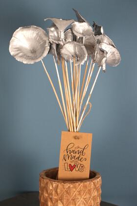 Yapay Çiçek Deposu - 15 Adet Kuru Golden Mushromm Bambu Çubuklu Saks Gümüş