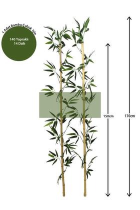 Yapay Çiçek Deposu - 170 cm Yapay 14 Dal Yapraklı Doğal Bambu Tip3
