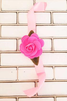 Yapay Çiçek Deposu - Pembe Gül Nedime Bilekliği