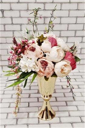 Yapay Çiçek Deposu - Miaros İri Güller Kız İsteme Hediyelik Aranjman Açık Somon Beyaz