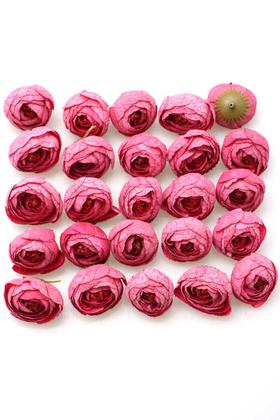 Yapay Çiçek Deposu - 25li Paket Yapay Küçük Kafa Şakayık Benekli Pembe
