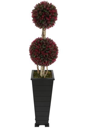 Yapay Çiçek Deposu - Yapay 2li Şimşir Top 150cm Yeşil-Kırmızı (Tasarım Model)