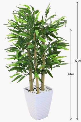 Yapay Çiçek Deposu - 3 Gövdeli Yapay Bambu Ağacı (Beyaz Melamin Saksıda)