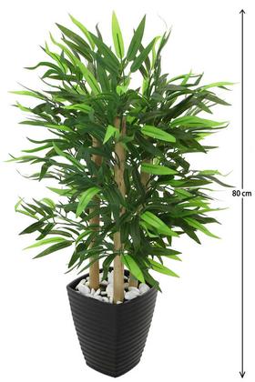 Yapay Çiçek Deposu - 3 Gövdeli Yapay Bambu Ağacı (Siyah Melamin Saksıda)