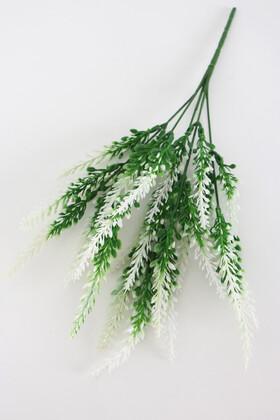Yapay Çiçek Deposu - 5 Dal Plastik Lavanta Demeti 35 cm Yeşil-Beyaz