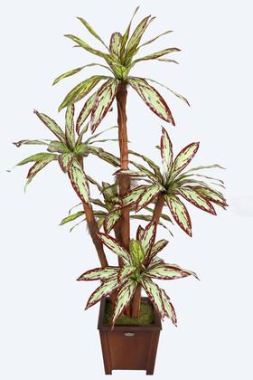 Yapay Çiçek Deposu - Yapay 5 Gövdeli Ağaç 180 cm Kiremit-Yeşil