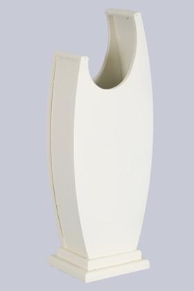 Yapay Çiçek Deposu - 50 cm Hilal Model Ahşap Vazo Açık Krem