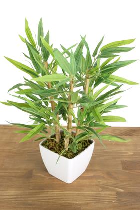 Yapay Çiçek Deposu - 6 Gövdeli Mini Yapay Bambu Ağacı (Beyaz Melamin Saksıda)