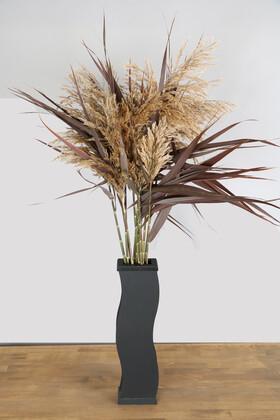 Yapay Çiçek Deposu - 57 cm Siyah Zigzag Vazoda 100 cm 10lu Bordo Şoklu Pampas