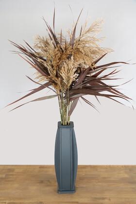 Yapay Çiçek Deposu - 60 cm Antrasit Tombul Vazoda 100 cm Bordo Pampas