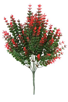 Yapay Çiçek Deposu - 7 Dal Plastik Okaliptus Demeti 35 cm Yeşil-Kırmızı