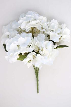 Yapay Çiçek Deposu - Yapay Çiçek 5 Dal Lüx Ortanca Demeti Beyaz