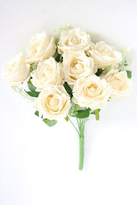 Yapay Çiçek Deposu - 9 Dallı Cipsolu Zarif Kumaş Gül Demeti Krem