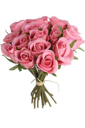 Yapay Çiçek Deposu - Yapay Çiçek 15li Lux Tomur Gül Buketi Açık Pembe