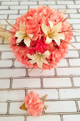 Yapay Çiçek Deposu - Gelin Buketi Açık Pembe Ortanca Lilyum Kuru Çiçek Şöleni 2li Set