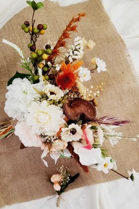 Yapay Çiçek Deposu - Adalia Beyaz Turuncu Tonlar Gelin Çiçeği 2li Set