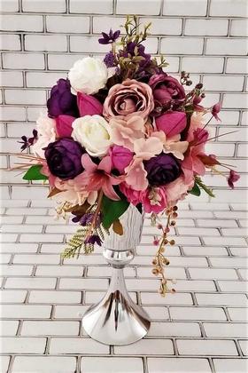 Yapay Çiçek Deposu - Adelinda İri Şakayık Güller Kız İsteme Hediyelik Aranjman Gül Kurusu