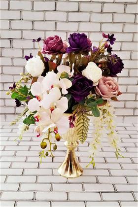 Yapay Çiçek Deposu - Adelinda İri Güller Kız İsteme Hediyelik Aranjman Mor Beyaz