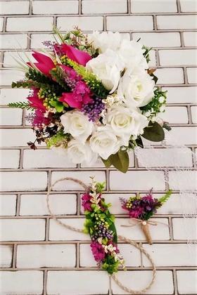 Yapay Çiçek Deposu - Afonis Beyaz Güller ve Fuşya Lale Gelin Buketi 3lü Set