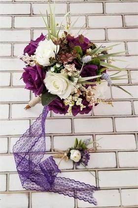 Yapay Çiçek Deposu - Afonis Mor Beyaz Güller Gelin Buketi 2li Set