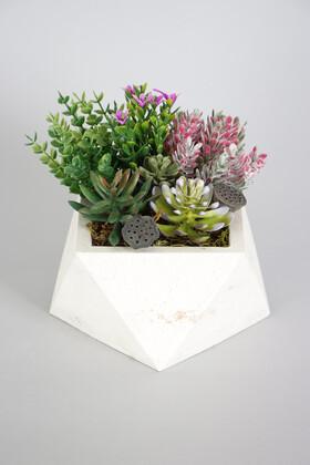 Yapay Çiçek Deposu - Beton Saksida Yapay Succulent Bahçesi
