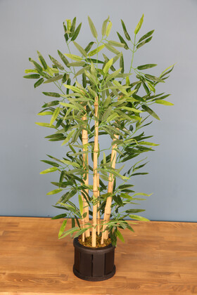 Yapay Çiçek Deposu - Ahşap Saksıda Bambu Ağacı 105 cm