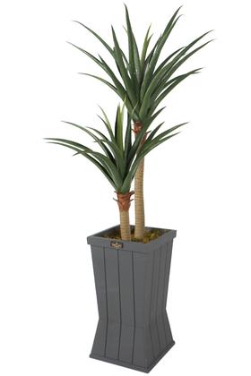 Yapay Çiçek Deposu - Ahşap Saksıda Yapay Yucca Ağacı Artificial Foilage 140 cm