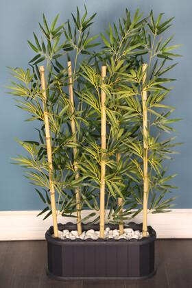 Yapay Çiçek Deposu - Dekoratif Saksıda 1. Sınıf Kumaş Yapraklı 5 Çubuklu Bambu Seperatör (20x50x120cm)