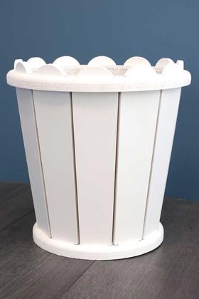 Yapay Çiçek Deposu - Dekoratif Konik Ahşap MDF Saksı 28 cm Beyaz