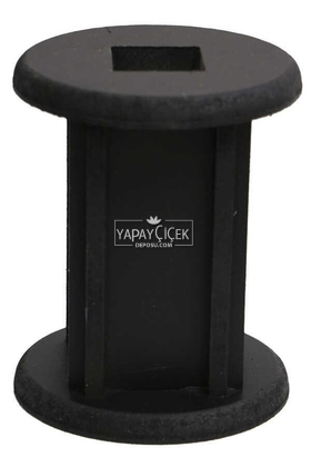 Yapay Çiçek Deposu - 15 cm Siyah Ahşap Vazo Silindir Model
