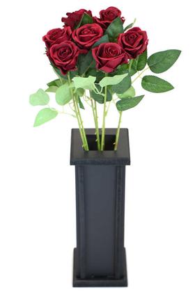 Yapay Çiçek Deposu - Ahşap Vazoda Yapay 7li Kadife Gül Dalı 50 cm Bordo