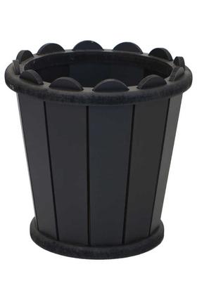 Yapay Çiçek Deposu - Dekoratif Konik Ahşap MDF Saksı 28 cm Siyah
