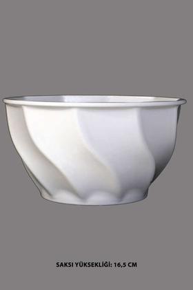 Yapay Çiçek Deposu - Melamin Saksı Model 5 Beyaz