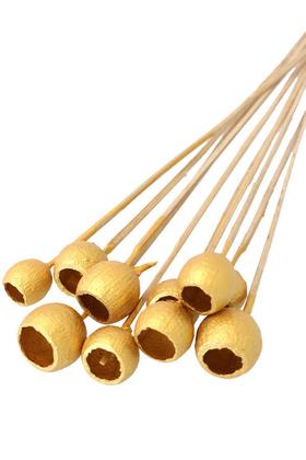 Yapay Çiçek Deposu - Dekoratif Küçük Bell Cup 10lu Tropic Kabak Gold Seri Altın Renk