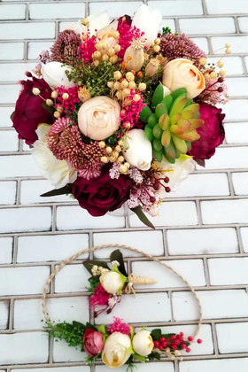 Yapay Çiçek Deposu - Anastasia Kuru Çiçek Şakayıklar Gelin Buketi 3lü Set