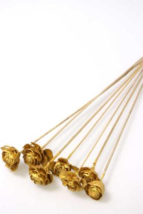 Yapay Çiçek Deposu - Cedar Rose 7li Demet 45 cm Altın Renk (Gold)