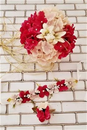 Yapay Çiçek Deposu - Armonia Lilyum Ortanca Gelin Buketi Fuşya - Pudra 3lü Set