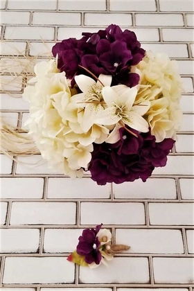 Yapay Çiçek Deposu - Armonia Lilyum Ortanca Gelin Buketi Mor - Krem 2li Set