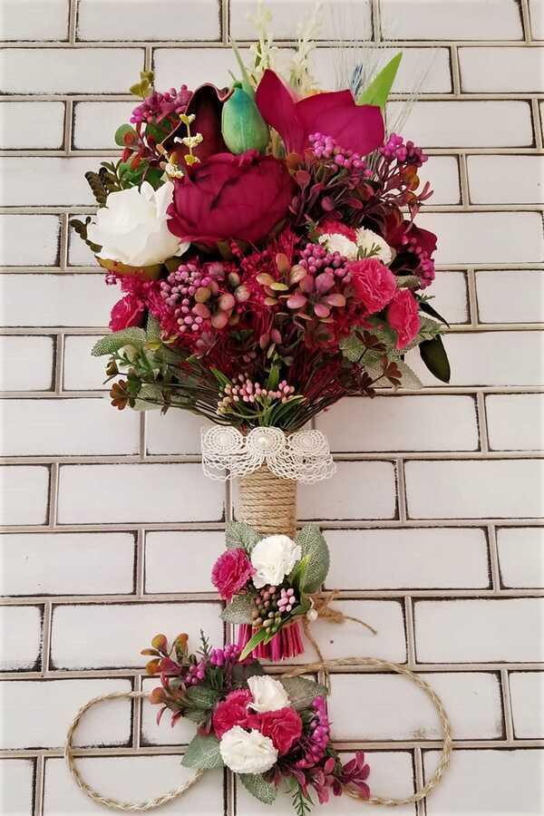 Atropes Kuru Çiçekler Şakayık Karanfil Şöleni Gelin Buketi 3lü Set