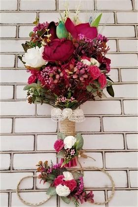 Atropes Kuru Çiçekler Şakayık Karanfil Şöleni Gelin Buketi 3lü Set - Thumbnail